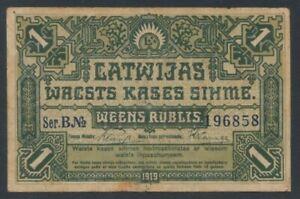 1919 Lettland,  1 Rublis Geldschein TT6255 , P.2a  Erh. III