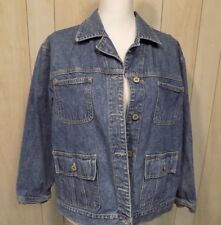 Bill Blass Petites Women's Jean Jacket Size large Vintage 90s Cotton 4 Pockets