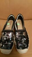 FABIOLAS size 7 black and silver  sequinned espadrilles