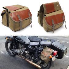 Motorcycle Saddle Bag Bike Left Side Storage Canvas+leather