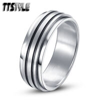 TTstyle 8mm Black Stripe Stainless Steel Spinner Ring Choose Size