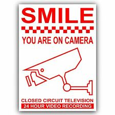 1 x CCTV Smile You Are On Camera-24hr Recording Stickers-Warning Security Signs