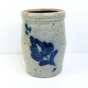 """Rowe Pottery Works Crock Vase Jug Cannister Blue Floral Salt Glazed 6.75"""" VTG"""
