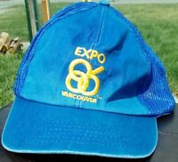 Vtg Expo '86 Vancouver Canada World Fair Embroidered Blue Snapback Trucker Hat