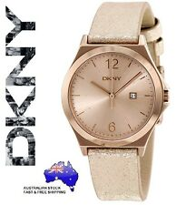 DKNY Womens Parsons Beige Dial Metallic Leather Watch - Light Gold - Boxed NEW
