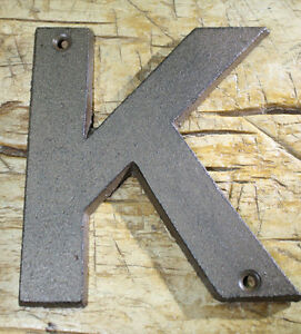 """Cast Iron Industrial LETTER K Sign Rustic Brown 5"""" tall Alphabet"""