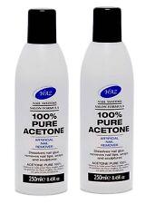 100% Pure Acetone Artificial Nail Remover -Pro Formula 250 ml X 2