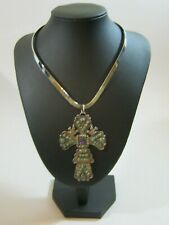 """MATL Matilde Poulat Mexican Silver Amethyst & Turquoise Pendant Necklace 3"""" Long"""