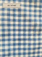 Vintage Blue Checked Plaid Gingham Fabric Salvage Material Sewing Quilt Doll A23