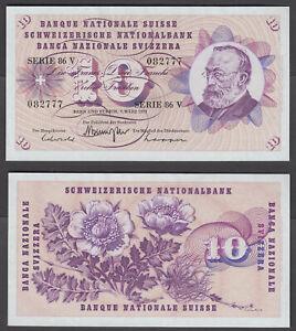 (B24) Switzerland 10 Franken 1973 (XF) Condition Banknote P-45s