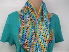 Handcrafted Crocheted Cowl Shawl Wrap Merino Nylon Silk Female Adult Multi-Color