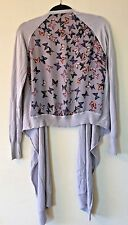 TED BAKER Blue Grey Silk Butterfly Back Waterfall Cardigan Sweater Size 2 4 6 8