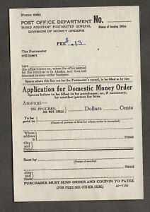 US Post Office Form 6001, Application For Domestic Money Order. Blank form; 1938