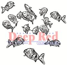 Deep Red Stamps School of Fish Rubber Cling Stamp