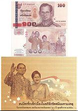 THAILAND 100 BAHT 2010 UNC 60th ROYAL WEDDING + ORIGINAL FOLDER P 118