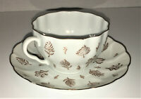 ARABIA Cup and Saucer Made in Finland Aulikki Pattern Gold Leaves & Trim 4oz