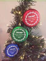 Trump 2017 2018 2019 Shatterproof MAGA Christmas Tree Ornament collectors set
