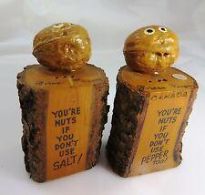 SALT & PEPPER, VTG,  SOUVENIR, 'YOU NUTS' WALNUT WOOD & NUT SHAKERS, BC, CANADA