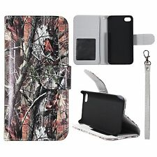 Wallet Camo Brown Oak For Apple Iphone 4 , 4S Syn Leather Case Cover Flip Pouch