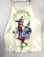 Vtg Tom Lamb  Full Barbecue Apron Cotton Mid Century Graphics Bull 1950s Signed