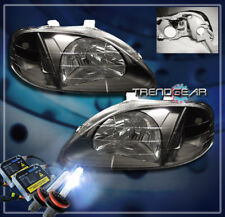 1999 2000 HONDA CIVIC 2/3/4DR CRYSTAL HEADLIGHTS+HID KIT LAMP JDM BLACK GX HX LX
