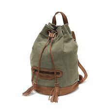 Rucksack Canvas Leder Outdoor DRAKENSBERG KIMBERELY Debonair Backpack Grün