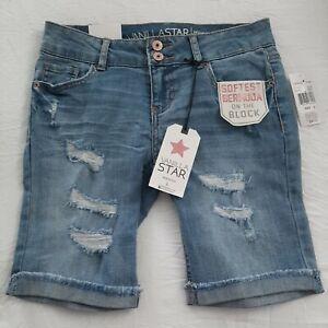 Vanilla Star Jr. Miss Distressed Cutoff Denim Bermuda Shorts, Size 3, Brand New!