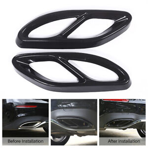 Exhaust Pipe Tip Tail Throat Decor Cover Trim For Mercedes Benz A B E Class CLA