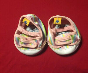 Build a Bear shoes rainbow mettalic pastel pink white toe shoes
