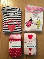 Baby Gap Girl Sleep Sets Lot 2 Love Bug Stripe Heart Ladybug Bee Pajamas Tights
