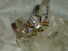 Gorgeous New  JOAN RIVERS   MAGNETIC Crystal & Gold Tone Metal, BEE PIN