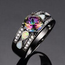 Mystic Round Rainbow Topaz Fire Opal Wedding Ring Black Gold For Women Size 6-10