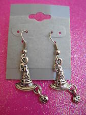 Silver Witch Hat With Pumpkin Dangle Earrings