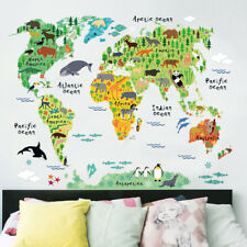 Mapa del mundo animal Vivero Niños Pared Arte Calcomanía Pegatinas Wallpaper
