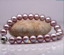 "Huge11mm natural south sea genuine purple perfect round pearl bracelet 7.5-8""AAA"