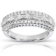 5/8 CT Real Natural Diamond Band 10K White Gold Curved Wedding Band Certified