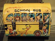1960's Walt Disney's School Bus Dome Top with bottom graphics metal lunch box