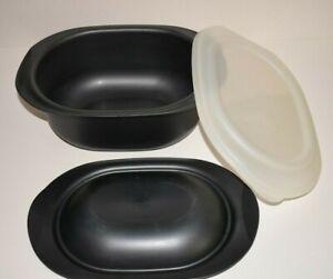 Tupperware OvenWorks Ultra Plus 3 Qt. Oval Casserole Set Grey/Black Pearl