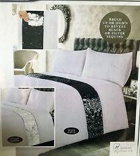 Black/Silver Sapphire Reversible Sequin Premium Duvet Set - Double or King Size