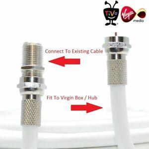 10M Virgin Media TV Broadband Extension Cable White Fits Sky HD, Tivo & Superhub