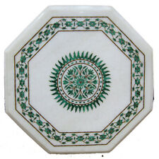 """18""""x18"""" Exclusive White Marble Coffee Table Top Floral Inlay Art Outdoor Decor"""