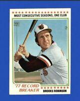 1978 Topps Brooks Robinson #4 Record Breaker Baseball Card - Baltimore Orioles