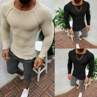 Men's Skinny Sweater Knitted Crew Neck Pullover Long Sleeve Pure Color Tops Hot
