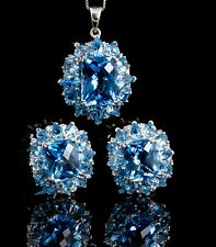 14K white Gold Blue Topaz Earring and Pendant Set