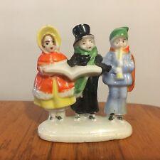 Vtg Glazed Bisque Doll House Christmas Snowbaby Caroler Trio Made Japan