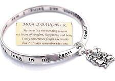 Daughter Mom Bangle Bracelet Mother Devotion Love Bond Charm Silver-tone
