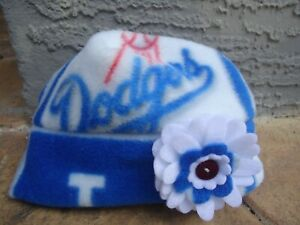 Los Angeles Dodgers Fleece Flower Hat Handmade Newborn Baby Girls to Adult Sizes