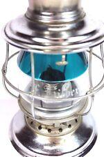 RARE  Presentation Blue Aqua-Clear Etched Name Conductor's Railroad Lantern NICE