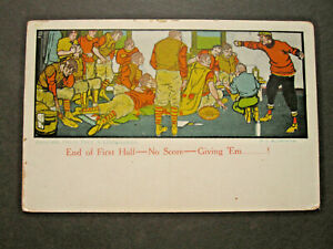 vTg 1908 Football End 1st 1/2 No Score giving em Blumenthal art Postcard locker