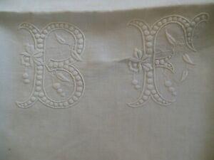 drap ancien en fil monogramme BF